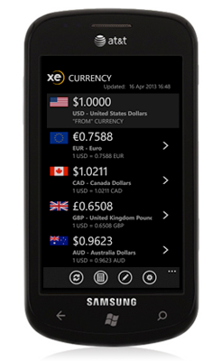 XE Currency App for Windows Phone